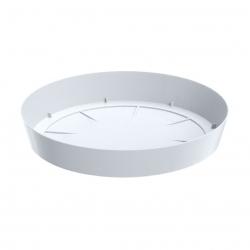 Okrągła, lekka doniczka Lofly z podstawką - 13,5 cm - biała