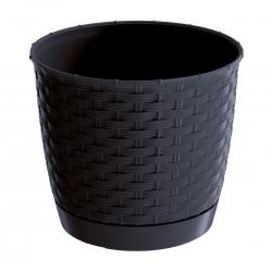 Doniczka okrągła + podstawka Ratolla - 19 cm - antracyt
