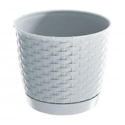 Doniczka okrągła + podstawka Ratolla - 19 cm - biała