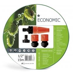 """Wąż ogrodowy ECONOMIC 1/2"""", 15m - komplet przyłączy - CELLFAST"""