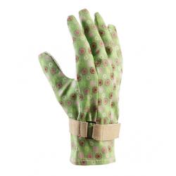 Gustowne rękawice ogrodnicze Majbacka - zielone z kwiatowym deseniem