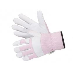 Grube rękawice ogrodnicze Country różowo-białe - bardzo wytrzymałe