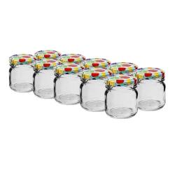 Małe ozdobne słoiczki 40 ml z kolorową zakrętką - śr. 43 mm - zestaw 10 sztuk