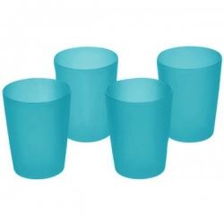 Zestaw kubków plastikowych - 4 x 0,25 litra - niebieski