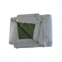 Plandeka - 5 x 8 m - srebrno-zielona
