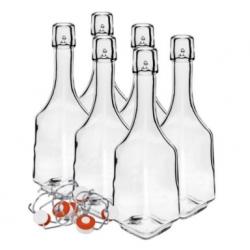 Zestaw butelek na nalewki, soki i syropy z kapslem hermetycznym - 500 ml - 6 szt.