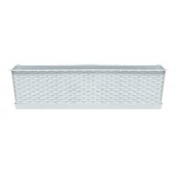 Skrzynka balkonowa + podstawka + uchwyt do wieszania Ratolla - 49 cm - biała