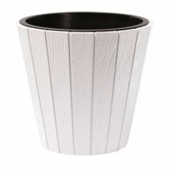 Doniczka okrągła Woode + wkład - 35 cm - biała