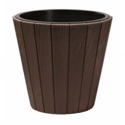 Doniczka okrągła Woode + wkład - 35 cm - brązowa