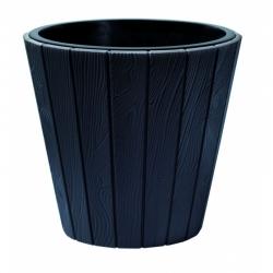 Doniczka okrągła Woode + wkład - 35 cm - antracyt