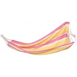Hamak z płótna - 200 x 100 cm - bez rozpórki - z poręcznym materiałowym pokrowcem - żółto-różowy