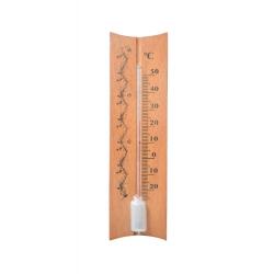 Termometr wewnętrzny drewniany - prosty - 40x150 mm - brąz