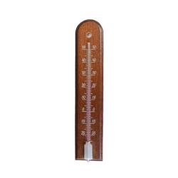 Termometr wewnętrzny drewniany - łuk - 45x205 mm - ciemny brąz