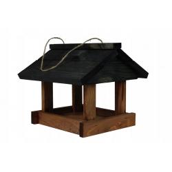 Karmnik dla ptaków - klasyczny do powieszenia - czarno-brązowy
