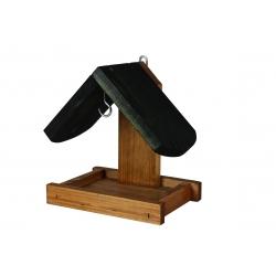 Karmnik dla ptaków - do powieszenia na ścianie - czarno-brązowy