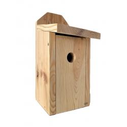 Budka lęgowa dla ptaków do montowania na ścianach i murach - sikorek, mazurków i muchołówek - surowa