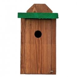 Budka lęgowa dla ptaków do montowania na ścianach i murach - sikorek, mazurków i muchołówek - brązowa z zielonym dachem