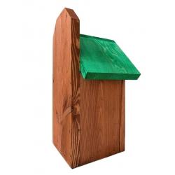 Budka lęgowa dla ptaków do montowania na ścianach i murach - sikorek, wróbli i kowalików - brązowa z zielonym dachem