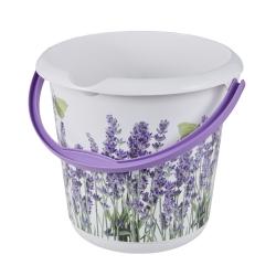 Wiadro z dekoracyjnym motywem - Ilvie - 10 litrów - lawenda