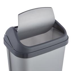 Kosz na śmieci z obrotową pokrywą - Swantje - 10 litrów - jasnosrebrny