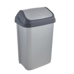 Kosz na śmieci z obrotową pokrywą - Swantje - 25 litrów - jasnosrebrny