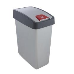 Kosz na śmieci z naciskaną pokrywą - Magne - 25 litrów - jasnosrebrny