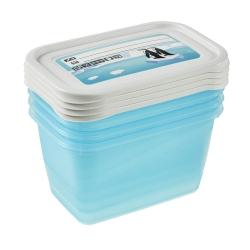 """Zestaw 4 pojemników prostokątnych na żywność - Mia """"Polar"""" - 0,75 litra - lodowy niebieski"""
