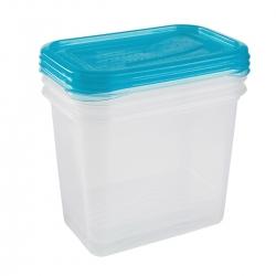 """Zestaw 3 prostokątnych pojemników na żywność - Fredo """"Fresh"""" - 1 litr - świeży niebieski"""