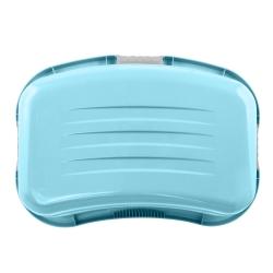 Ergonomiczny kosz na pranie z miękkimi uchwytami - Lasse - wodny niebieski
