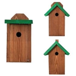 Budki lęgowe dla ptaków - brązowe z zielonym dachem - zestaw 3 sztuk.