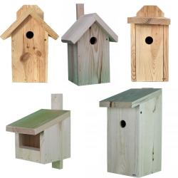 Budki dla ptaków - zestaw 5 rodzajów - surowe