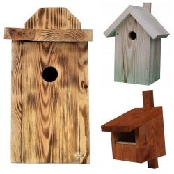 Budki dla ptaków - zestaw 3 rodzajów w różnych kolorach
