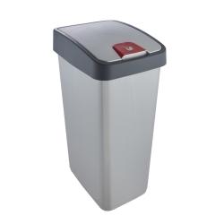 Kosz na śmieci z naciskaną pokrywą - Magne - 45 litrów - jasnosrebrny