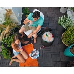 Barek ogrodowy z pojemnikiem na napoje - rattanowy - brąz