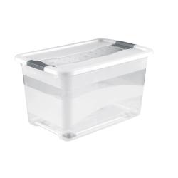 Pojemnik z pokrywą, na kółkach - Konrad - 52 litry - transparentny