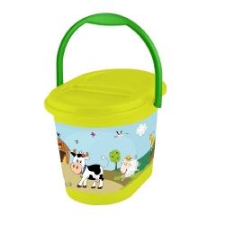 Wiaderko dla dzieci - 'Funny Farm' - zielona łąka