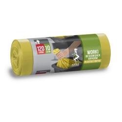 Worki na śmieci do segregacji odpadów żółte - METAL PLASTIK - 120 litrów - 10 szt.
