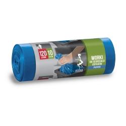 Worki na śmieci do segregacji odpadów niebieskie - PAPIER - 120 litrów - 10 szt.