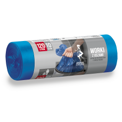 Worki na śmieci z uszami - niebieskie - 120 litrów - 10 szt. - LDPE