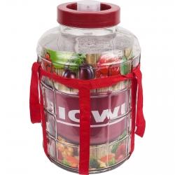 Słój z taśmą i plastikową pokrywą - do win, nalewek i przetworów - 8 litrów