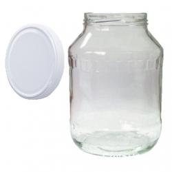 Słój zakręcany szklany, słoik - fi 100 - 2,65 l + zakrętka biała