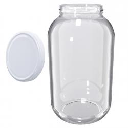 Słój zakręcany szklany, słoik - fi 100 - 4,25 l + zakrętka biała