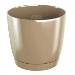 Okrągła doniczka Coubi z podstawką - 10 cm - Kawa z mlekiem - Prosperplast