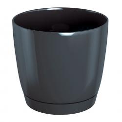 Doniczka okrągła + podstawka Coubi - 12 cm - grafit