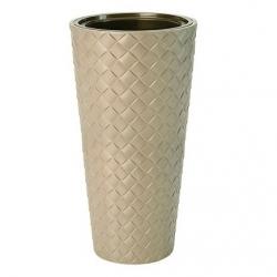 Doniczka okrągła wysoka z wkładem - Makata Slim - 40 cm - cafe latte