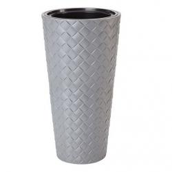 Doniczka okrągła wysoka z wkładem - Makata Slim - 30 cm - beton