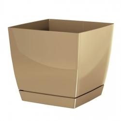 Kwadratowa doniczka z podstawką Coubi - 24 cm - kawa z mlekiem - Prosperplast