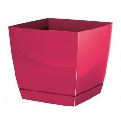 Doniczka kwadratowa + podstawka Coubi - 24 cm - malinowa