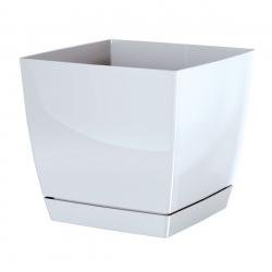 Kwadratowa doniczka z podstawką Coubi - 18 cm - biała - Prosperplast