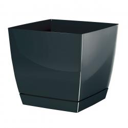 Kwadratowa doniczka z podstawką Coubi - 13,5 cm - grafit - Prosperplast